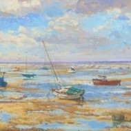 E. Chiverton - Signed Contemporary Oil, Boat at Meols