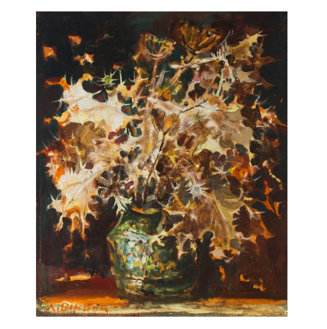 Avraham Binder (1906-2001) - 20th Century Oil, Still Life, Vase with Flowers