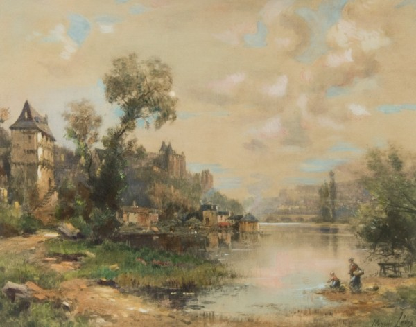 Maurice Lévis (1860-1940) - French Watercolour, Riverside Town with Figures