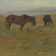 Russian School Early 20th Century Oil - Wild Ponies