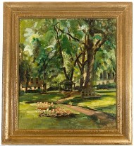 Norma Ingram (1907-1992) - Gilt Framed Impressionistic Oil, In the Park