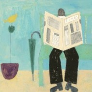 Modern British School Contemporary Gouache - Reading the paper in an Interior