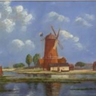 Irene Prentice - Framed 1931 Oil, Dutch Windmill Scene