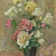 C.H. Bagnoli - Signed and Framed Contemporary Oil, Pink and Yellow Roses