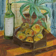 20th Century Acrylic - Still Life with Aloe Vera Plant