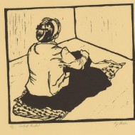 Pip Moon - Contemporary Woodcut, Seated Model