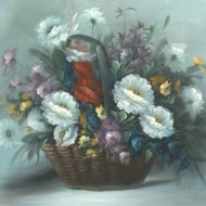 A. Mayson - 20th Century Oil, Basket of Flowers