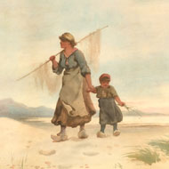 A. Poisson - 19th Century Watercolour, Dutch Mother and Child on a Beach