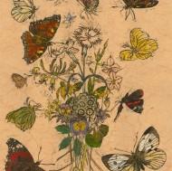 John Norris-Wood FRCA (1930-2015) - Contemporary Woodcut, Garden Butterflies