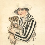 H.Lewis - 1918 Watercolour, Portrait of Lady and Dog