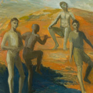 Maud Llewellyn Wethered (1898-1990) - Mid 20th Century Oil, Nude Figures in a Landscape