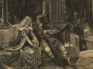 Kathleen Rumsey After Edmund Leighton - c.1902 Charcoal Drawing, The End Song