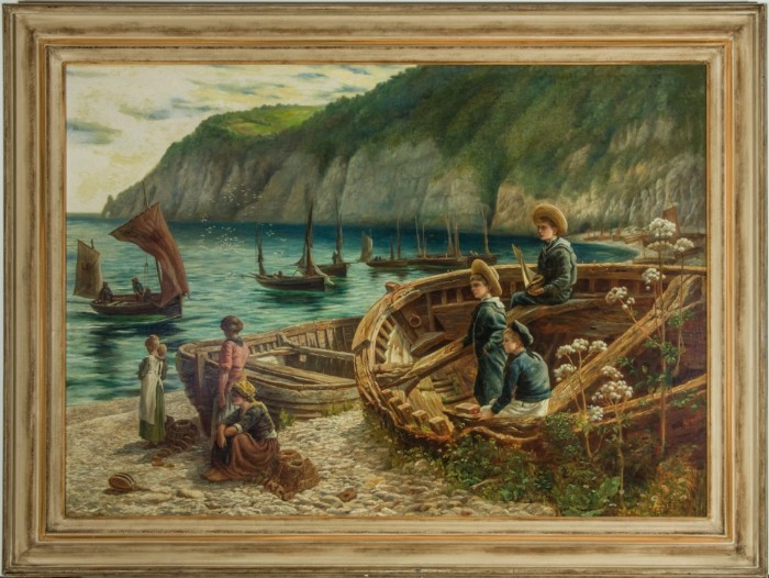 Monogrammed Newlyn School Pre-Raphaelite Style 1880 Oil - Cornish Beach
