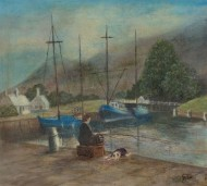 John M. Edwards - Contemporary Oil, Man Fishing in a Harbour
