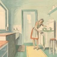 John Armstrong - 20th Century Watercolour, Interior Scene, 1940's Kitchen