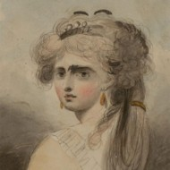 Miniature Early 19th Century Watercolour - Portrait of an Elegant Lady