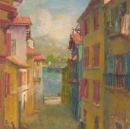 Impressionist 20th Century Oil - Mediterranean Street Scene