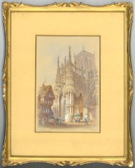 Edwin Thomas Doby (fl. 1849 - 1895) - Signed Watercolour, Louviers, Normandy