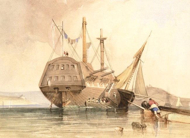 English School 19th Century Watercolour - Warship in a Bay