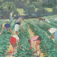 Framed Contemporary Oil - Strawberry Pickers