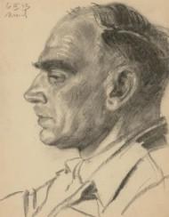 Jan Korwin Kochanowski (1897-1970) - 1943 Charcoal Drawing, Captain Srokowski
