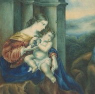 Isabella Ogilby - Exceptional 1840 Watercolour, Mother and Child in Temple Ruins