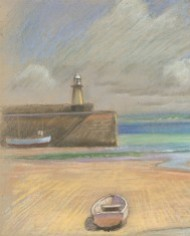 Fred Dymond - Mid 20th Century Pastel, Cornish Harbour at Low Tide