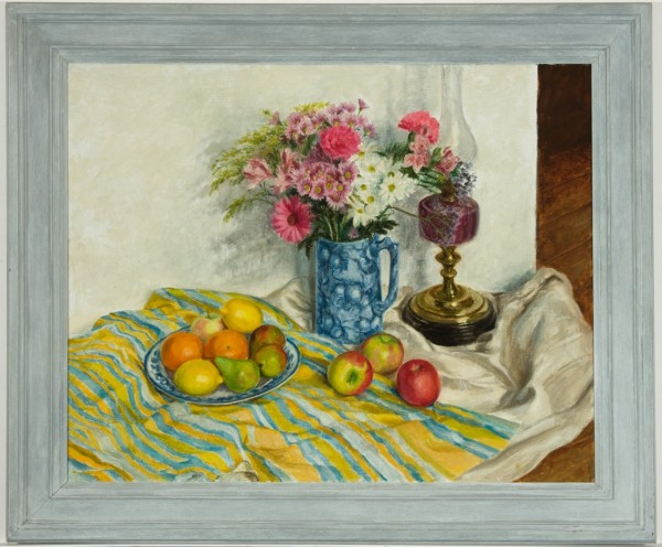 Anne Wright RBA - Framed Contemporary Oil, Flowers and Fruit