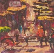 20th Century Oil with Impasto - Hong Kong Street Scene