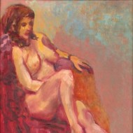 Harold Kopel (1915-1955) - Signed and Framed Oil, Reclining Nude in Pink