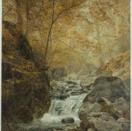 English School - Early 20th Century Oil, Woodland Waterfall