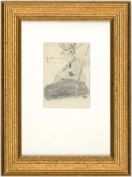 George Willoughby Maynard (1843-1923) - Framed Graphite Drawing, Lady on a Beach