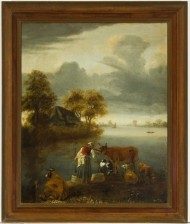 Framed English School 19th Century Oil - Landscape with Milkmaid and her Cattle