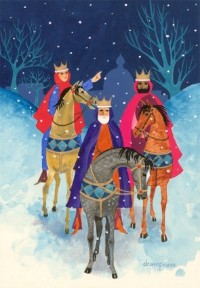 Patricia Champness - Contemporary Gouache, Three Kings in the Snow