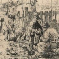 Auguste Brouet (1872-1941) - Original Signed Etching, French Street Sellers