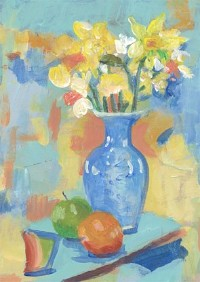 Hilary Sweet-Escott - Signed 20th Century Acrylic, Still Life with Daffodils