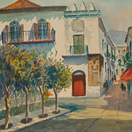 G. Abalos - 1967 Watercolour, Spanish Street Scene