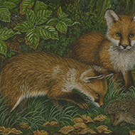 Pam Mullings (b.1940) - 20th Century Gouache, Two Foxes with a Hedgehog