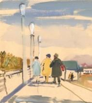 Jean Dryden Alexander (1911-1994) - 1967 Gouache, Felixstowe