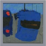 Newlyn School Contemporary Oil - Blue Boats at Newlyn