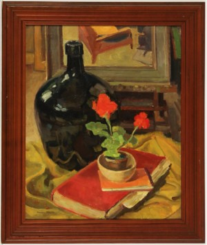 Harrie Kuyten (1883-1952) - Signed Oil, Still Life with Geraniums and Jug