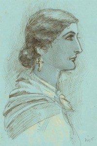 Charles William Cole - Late 19th Century Pen and Ink Drawing, Portrait of a Lady