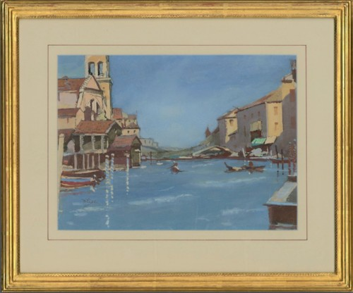 William Eyre (1891–1979) - 20th Century Gouache, View of Traviso, Venice