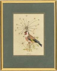 Eric J. Morton - Two 1977 Watercolour, Goldfinch and Waxwing Birds