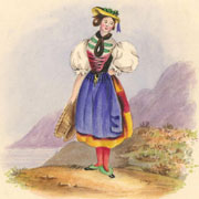 Sarah Ann Newell - 1837 Watercolour Miniature, Lady in Traditional Dress