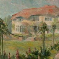 South African Impressionist 20th Century Oil - Vibrant Garden with House