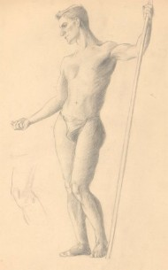 Art Student - Fine Mid 20th Century Graphite Drawing, Male Nude with Pole