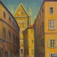 Louis Klein - 20th Century Oil, View of Siena Cathedral