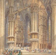 Henry Schafer (1833-1916) - Signed Late 19th Century Watercolour, Interior of Milan Cathedral