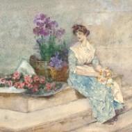 David Woodlock (1842-1929) - Watercolour, Flower Seller in Venice
